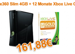 [Bundle] Xbox360 Slim 4GB + 12 Monate Xbox Live Gold Membership für nur 161,88€