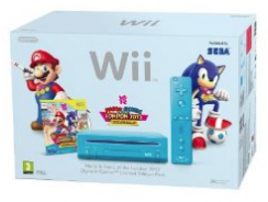 Wii: Nintendo Wii (Slim Line in Blau) + Mario and Sonic London 2012 Olympic Games für ca. 118,15€