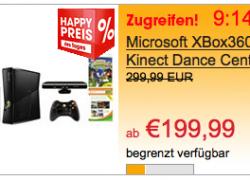 X360: Xbox360 Slim 4GB + Kinect + 2 Spiele + 5 XBL Games + XBL Gold Mitgliedschaft und 400 XBL Punkten für nur 199,99€ (statt 264€)
