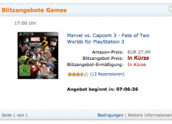 Amazon Blitzangebot ab 17 Uhr: Marvel VS Capcom 3 für PS3