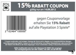 [Offline] 15% Rabatt auf alle PlayStation 3 Spiele bei mueller (lokal)
