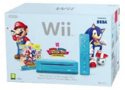 Wii: Nintendo Wii (Slim Line in Blau) + Mario and Sonic London 2012 Olympic Games für ca. 118,15€